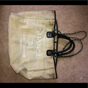CHANEL canvas large Deauville tote bag